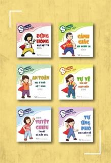 Bộ sách kỹ năng tự vệ cho trẻ: Đừng hòng bắt nạt tớ + Cảnh giác với người lạ + Tự vệ khi gặp nguy hiểm + Tuyệt chiêu thoát kẻ bắt cóc + An toàn khi ở nhà một mình + Tự ứng phó khi cháy nổ